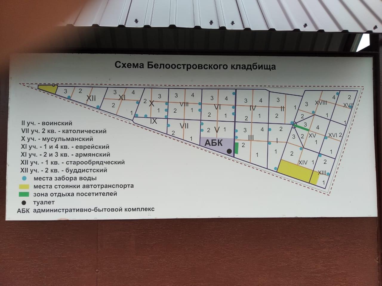 схема белоостровского кладбища